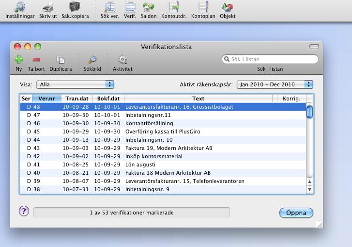Verifikationslista i StepOne Bokföring 5 för Mac OS X