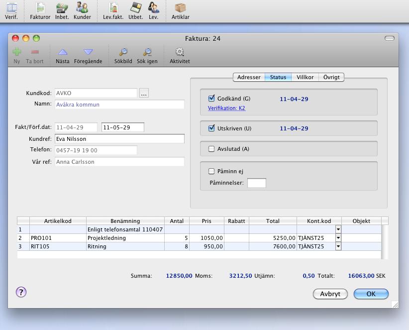 Faktura i StepOne Ekonomi 5 för Mac