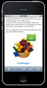 Fruktkorgar på iPhone